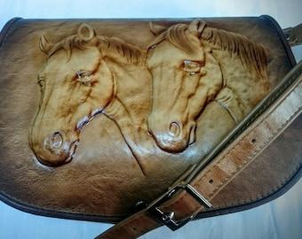 Handbag saddler equestrian vintage handmade tooled leather horse  Floral Shoulder Bag PURS