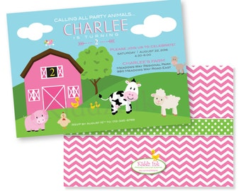 Barnyard Farm Animal Theme Printable Birthday Invitation for Girl 5x7 with Two Sides - Customized DIGITAL FILE for Printing