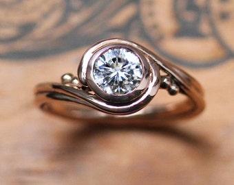 Rose gold moissanite engagement ring rose gold, forever brilliant moissanite solitaire engagement ring moissanite, moissanite solitaire ring