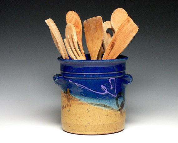 Stoneware Utensil Holder Pottery Utensil Crock Ceramic