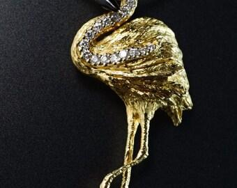 Diamond 14K Yellow Gold Whimsical Flamingo Bird Enamel Artful Retro Pendant