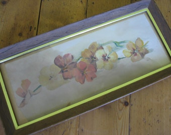 Vintage Framed Original Watercolor Floral Yellows, Oranges, Umbers as Found in Original Wooden Frame