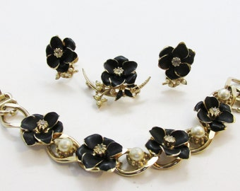 Vintage - Collectible - Rhinestone and Pearl Set - Jewelry - Gold - Rhinestones - Pearls - Set - Enamel - Floral - Unique - Women's - Gift