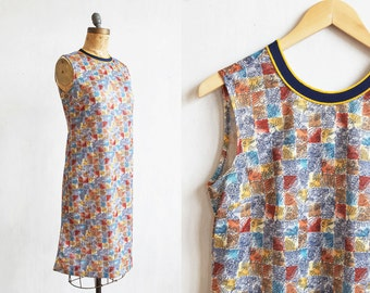 vintage mod dress / minimal mod dress / mini 60s dress / A line dress / day dress / graphic modern print / sleeveless dress / handmade dress