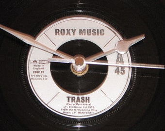 "Roxy Music trash  7"" vinyl record clock"