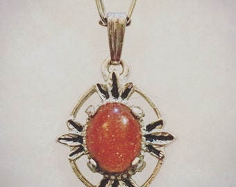 Vintage Silver Necklace with Goldstone Pendant