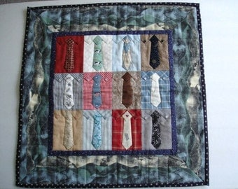 Miniature Hand Quilted Shirts & Ties Wall Hanging Quilt