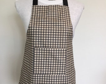 Kid Apron, Boy's Apron, Checkered Apron, Apron for Boy, Black and Tan Apron