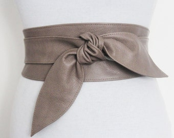 SALE! Taupe Brown Leather Tulip Tie Obi Belt | Leather tie belt | Real Leather Belt| Handmade Corset Belt | Plus size belts