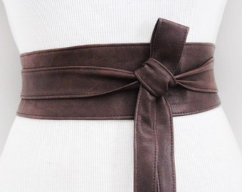 Distressed Brown Leather Obi Belt | Leather tie belt | Real Leather Belt| Ladies Belt | Plus size belts