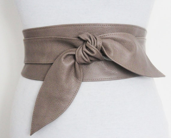 sale taupe brown leather tulip tie obi belt leather tie