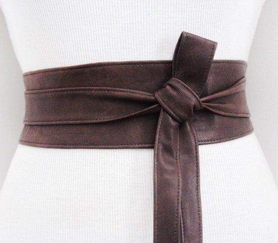 distressed brown leather obi belt leather tie belt real