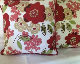 Red and Beige and Green Fun Flower Welted Pillow Cover