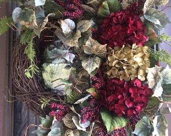 Hydrangea Wreath, Door Wreath, Red Berries, Red Wreath, Front Door Wreath