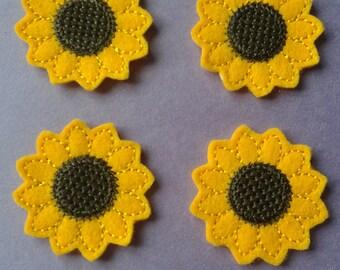 Yellow Sunflower Cut Felties 4 Pcs Embellishment Appliques