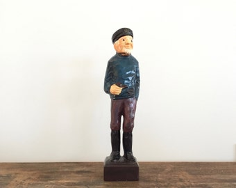 Vintage Porcelain Sea Captain Figurine Fisherman Statue Hand Painted Nautical Rustic Coastal Beach Decor