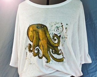 Circle top 'Octopus!' top - women's fashion top - whimsical illustration -