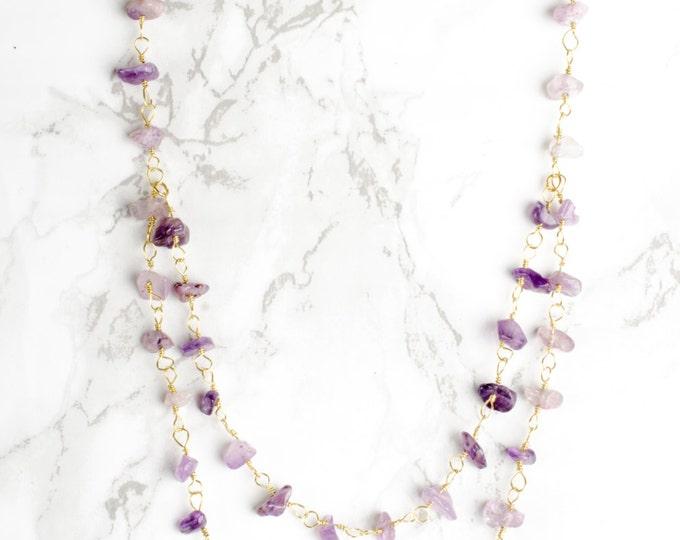 Golden Amethyst, Rose Quartz, or Rainbow Moonstone Necklace