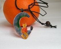 Stylized moon and cat pendant - Copper multicolor enameled necklace
