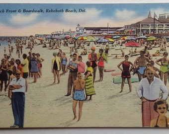 Rehoboth Beach, DE,  Vintage Postcard, Linen, Beach with Colorful with Bright Beach Umbrellas, 1950's, Dewey Beach