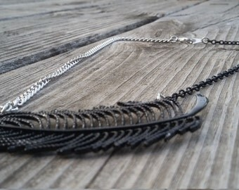 Black and Silver Metal Feather Necklace
