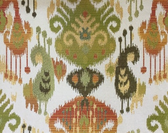 Modern Tribal Ikat - Apracot Lime Green Yellow Gold - Upholstery Fabric By The Yard