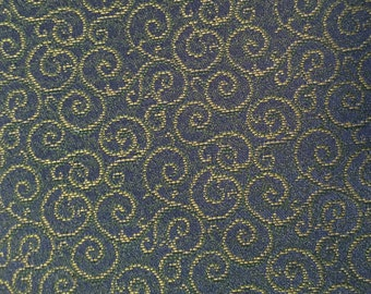 Swirly Night - Dark Blue - Yellow - Green - Upholstery Fabric by the Yard