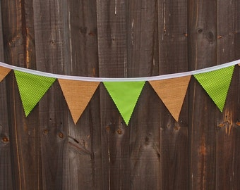 Rustic burlap and green cotton bunting with polkadots.
