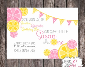 Digital file OR Printed Lemonade Party Invitation