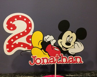 Mickey Mouse Cake Topper with name and age