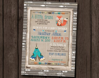 Boy Baby Shower Invitation Tribal Woodland Rustic Arrow Little Brave Wood Burlap Vintage Teepee Printable Digital File I Customize For You