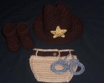 Crocheted Newborn Sheriff's Hat & Diaper Cover Set