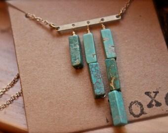 Turquoise rondel trio asymmetrical necklace