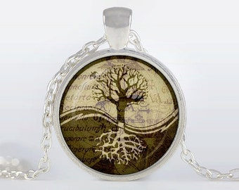 Tree of life Pendant, Tree of life Necklace, Silver plated pendant, Tree of life Jewelry, grey, brown