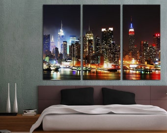 3 Panel Split, New York, Evening aerial view Canvas Print. Triptych of NY city skyline at dusk - for home or office decor & interior design