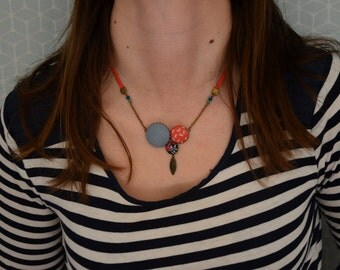 liberty blue and salmon effect fabric necklace vintage