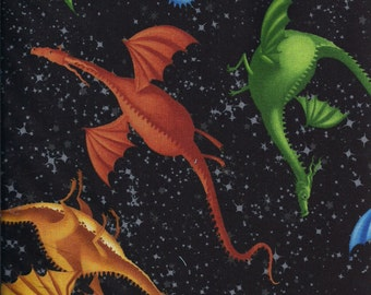 New Medieval Times Multi Color Dragons on Black 100% cotton fabric by the yard and half yard