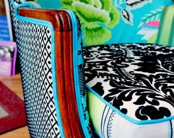 Bohemian Style, Upcycled, Vintage Upholstered Armchair, Repurposed, in Designers Guild Prints, By Jane Hall Design