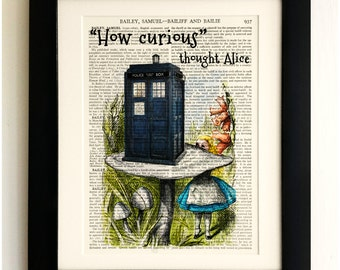 ART PRINT on old antique book page - The Tardis with Alice in Wonderland, Doctor Who, Vintage Wall Art Print, Encyclopaedia Dictionary Page