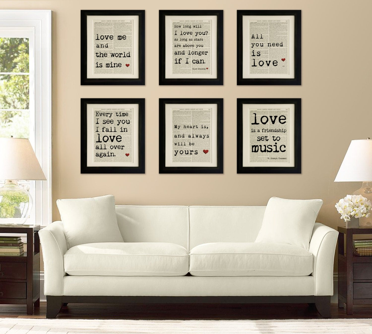 Beatles Quotes Love Set Of 6 Art Prints On Old Antique Book Page  Love Quotes Ellie