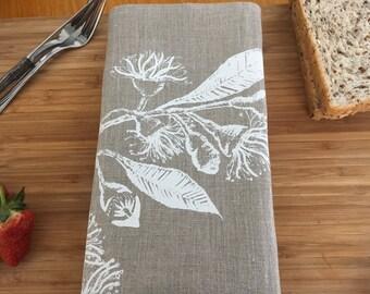 Linen napkin, Hand screen printed napkin, silk screen printed table napkin, eucalypt printed napkin
