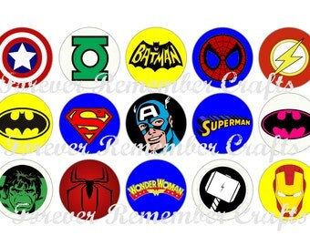 INSTANT DOWNLOAD Super Hero Logos 1 Inch Bottle Cap Image Sheets *Digital Image* 4x6 Sheet With 15 Images