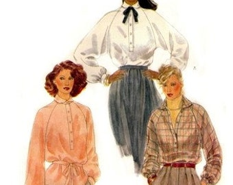 Vogue 7177 Demure High Necked Blouse with Full Sleeves / Late 1970's SZ10 UNCUT