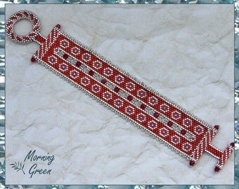 Red and Silver Crystal Peyote Bracelet, Red and Silver Delica seed Bead Bracelet with Swarovski Crystals