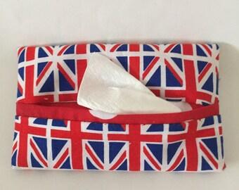 British Flag Travel tissue cover, Patriotic handbag accessory