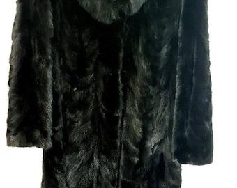 PRISTINE Marshall Fields Black Mink Fox Fur Collar Coat Genuine REAL Womens 3/4 Length