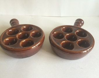 Set of 2 Brown Porcelain Snail/Escargot Dishes
