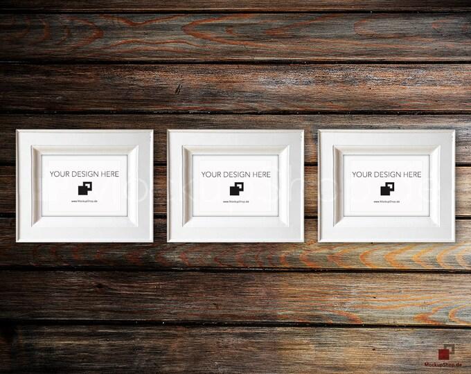 VINTAGE FRAME MOCKUP, Din A5, 3x old white Frame Mockup, Empty Frame Mockup in Vintage Stil, Old Vintage Frame Mockup, Vertical Vintage