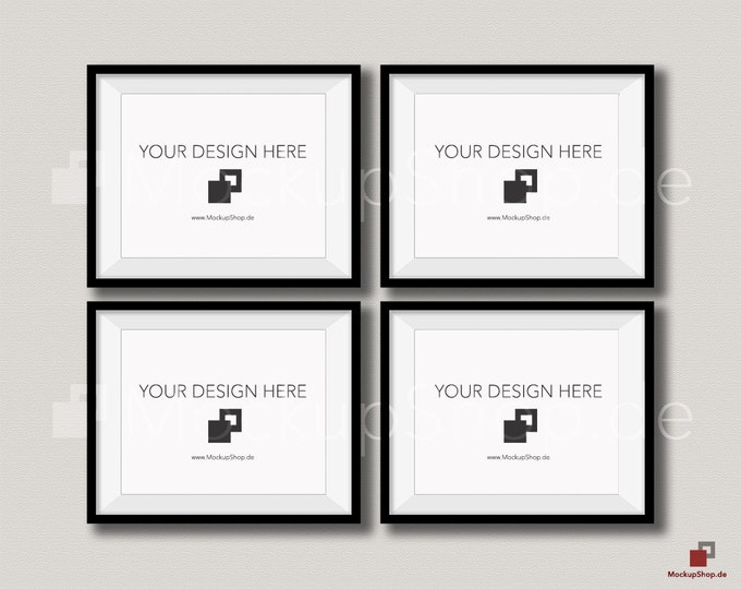 BLACK FRAME MOCKUP / 8x10 / Set of 4 horizontal Black Frame Mockup / Empty Mockup Frame / download Frame Mockup / Instand Download / Mockup