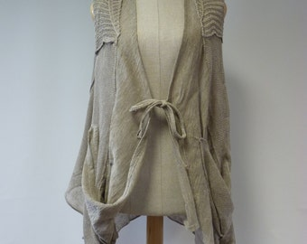 Boho artsy natural linen vest, M size.  Only one sample.